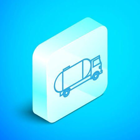 Isometric line Tanker truck icon isolated on blue background. Petroleum tanker, petrol truck, cistern, oil trailer. Silver square button. Vector Illustration