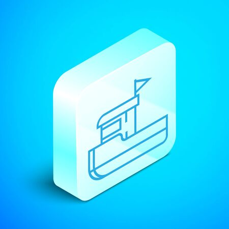 Isometric line Fishing boat icon isolated on blue background. Silver square button. Vector Illustration Ilustracja