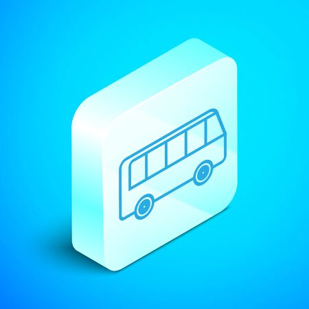 Isometric line Bus icon isolated on blue background. Transportation concept. Bus tour transport sign. Tourism or public vehicle symbol. Silver square button. Vector Illustration