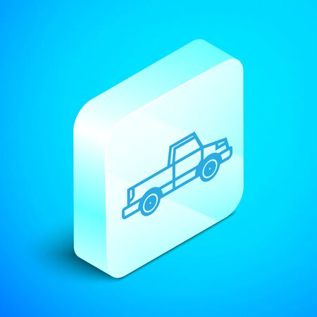 Isometric line Pickup truck icon isolated on blue background. Silver square button. Vector Illustration Standard-Bild - 133852298