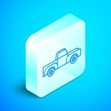 Isometric line Pickup truck icon isolated on blue background. Silver square button. Vector Illustration Standard-Bild - 133852299
