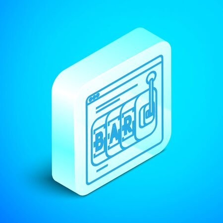 Isometric line Online slot machine icon isolated on blue background. Online casino. Silver square button. Vector Illustration