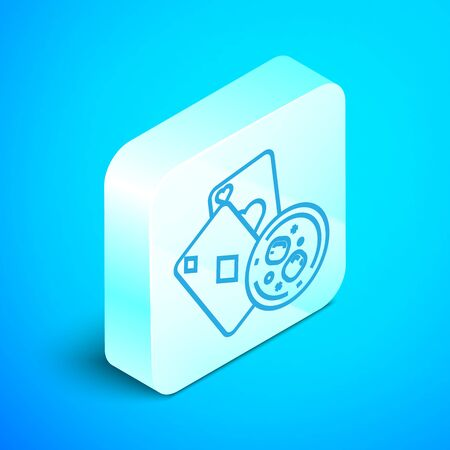 Isometric line Playing cards and glass of whiskey with ice cubes icon isolated on blue background. Casino gambling. Silver square button. Vector Illustration
