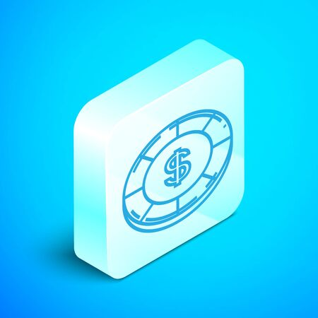 Isometric line Casino chip with dollar symbol icon isolated on blue background. Casino gambling. Silver square button. Vector Illustration