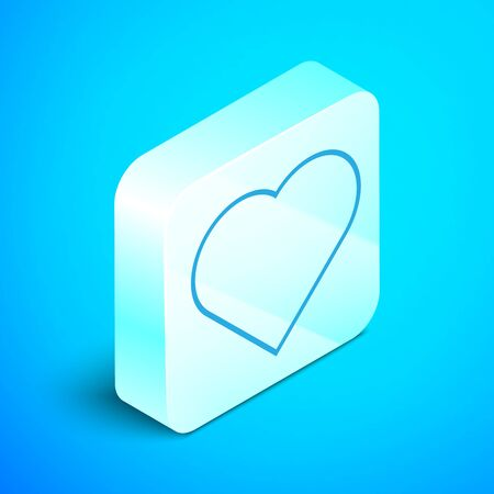 Isometric line Playing card with heart symbol icon isolated on blue background. Casino gambling. Silver square button. Vector Illustration 스톡 콘텐츠 - 133852328