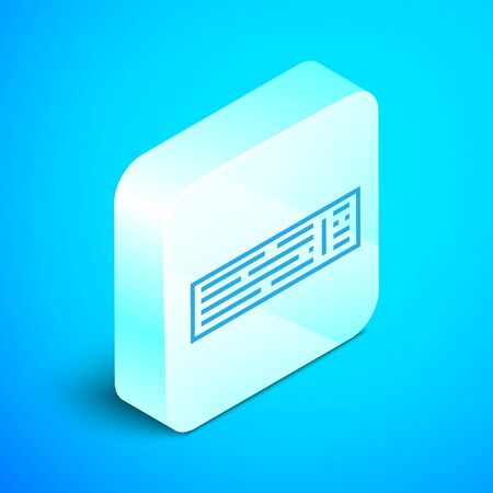 Isometric line Deck of playing cards icon isolated on blue background. Casino gambling. Silver square button. Vector Illustration Reklamní fotografie - 133852326