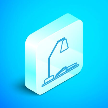 Isometric line Workplace with table lamp and open book icon isolated on blue background. Table office lamp. Silver square button. Vector Illustration Ilustracja