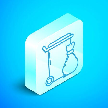 Isometric line Trash can icon isolated on blue background. Garbage bin sign. Recycle basket icon. Office trash icon. Silver square button. Vector Illustration