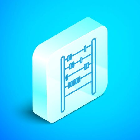 Isometric line Abacus icon isolated on blue background. Traditional counting frame. Education sign. Mathematics school. Silver square button. Vector Illustration
