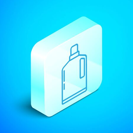 Isometric line Plastic bottle for liquid laundry detergent, bleach, dishwashing liquid or another cleaning agent icon isolated on blue background. Silver square button. Vector Illustration