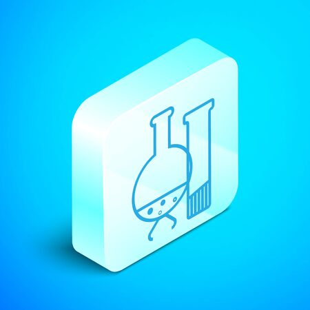 Isometric line Test tube and flask - chemical laboratory test icon isolated on blue background. Laboratory glassware sign. Silver square button. Vector Illustration