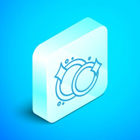 Isometric line Washing dishes icon isolated on blue background. Cleaning dishes icon. Dishwasher sign. Clean tableware sign. Silver square button. Vector Illustration Standard-Bild - 133852351
