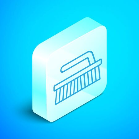 Isometric line Brush for cleaning icon isolated on blue background. Silver square button. Vector Illustration Фото со стока - 133852343
