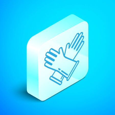 Isometric line Rubber gloves icon isolated on blue background. Latex hand protection sign. Housework cleaning equipment symbol. Silver square button. Vector Illustration Standard-Bild - 133852345
