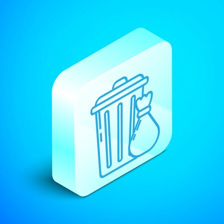 Isometric line Trash can and garbage bag icon isolated on blue background. Garbage bin sign. Recycle basket icon. Office trash icon. Silver square button. Vector Illustration Illustration