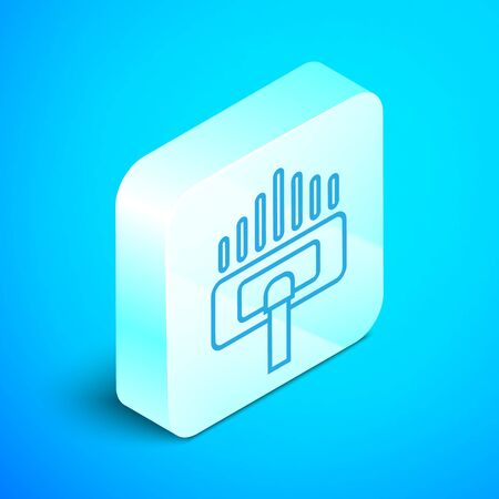 Isometric line Cleaning service icon isolated on blue background. Vacuum cleaner head in circle, carpet cleaning. Silver square button. Vector Illustration Standard-Bild - 133852347