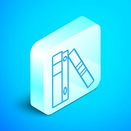Isometric line Office folders with papers and documents icon isolated on blue background. Office binders. Archives folder sign. Silver square button. Vector Illustration Standard-Bild - 133852346