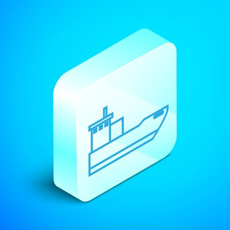 Isometric line Cargo ship icon isolated on blue background. Silver square button. Vector Illustration Ilustracja