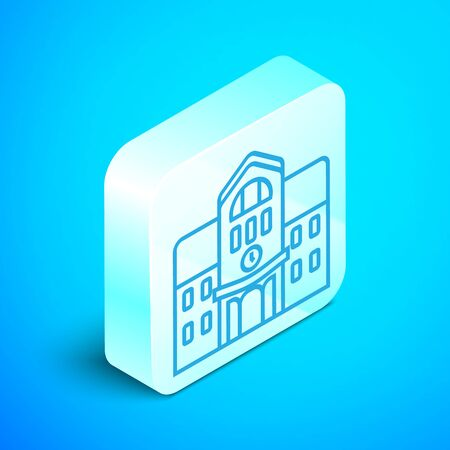 Isometric line School building icon isolated on blue background. Silver square button. Vector Illustration 向量圖像
