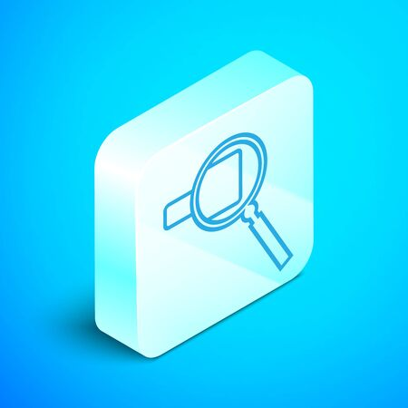 Isometric line Magnifying glass icon isolated on blue background. Search, focus, zoom, business symbol. Silver square button. Vector Illustration 스톡 콘텐츠 - 133852353