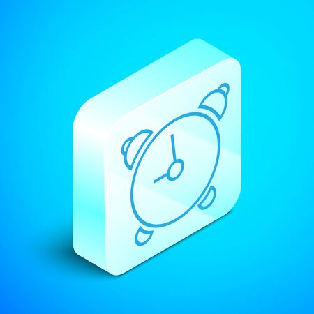 Isometric line Alarm clock icon isolated on blue background. Wake up, get up concept. Time sign. Silver square button. Vector Illustration Standard-Bild - 133852356