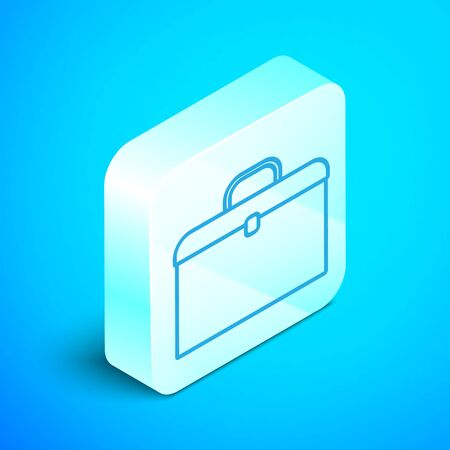 Isometric line Briefcase icon isolated on blue background. Business case sign. Business portfolio. Silver square button. Vector Illustration Standard-Bild - 133853161