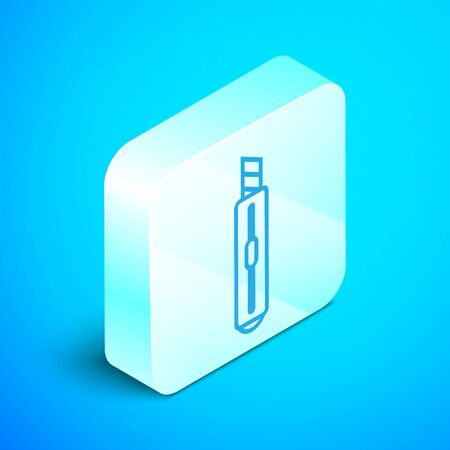 Isometric line Stationery knife icon isolated on blue background. Office paper cutter. Silver square button. Vector Illustration Illustration