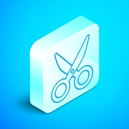 Isometric line Scissors icon isolated on blue background. Cutting tool sign. Silver square button. Vector Illustration