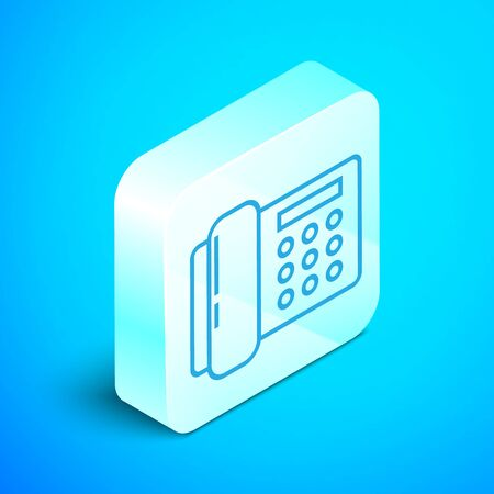 Isometric line Telephone icon isolated on blue background. Landline phone. Silver square button. Vector Illustration