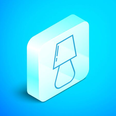 Isometric line Table lamp icon isolated on blue background. Silver square button. Vector Illustration