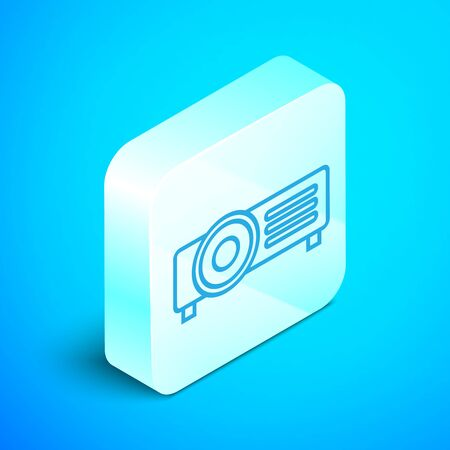 Isometric line Presentation, movie, film, media projector icon isolated on blue background. Silver square button. Vector Illustration Illustration
