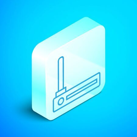 Isometric line Router and wifi signal symbol icon isolated on blue background. Wireless modem router. Computer technology internet. Silver square button. Vector Illustration