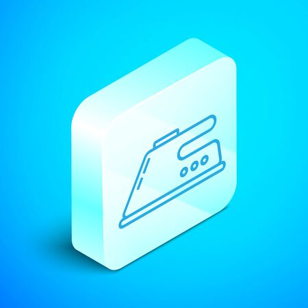Isometric line Electric iron icon isolated on blue background. Steam iron. Silver square button. Vector Illustration Standard-Bild - 133852399