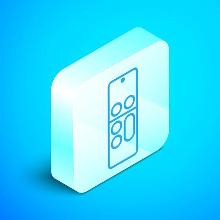 Isometric line Remote control icon isolated on blue background. Silver square button. Vector Illustration