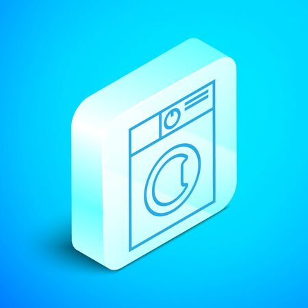 Isometric line Washer icon isolated on blue background. Washing machine icon. Clothes washer - laundry machine. Home appliance symbol. Silver square button. Vector Illustration Stockfoto - 133852404
