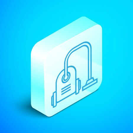 Isometric line Vacuum cleaner icon isolated on blue background. Silver square button. Vector Illustration Standard-Bild - 133852405