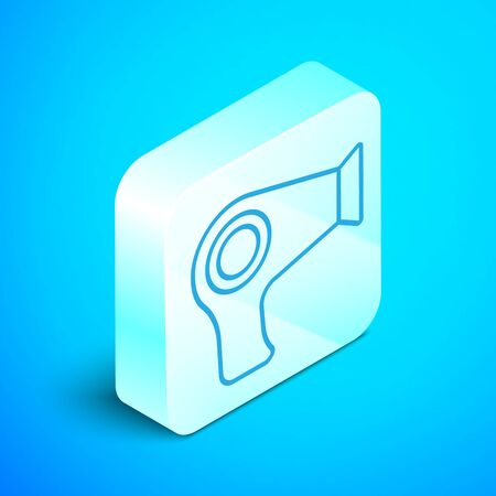Isometric line Hair dryer icon isolated on blue background. Hairdryer sign. Hair drying symbol. Blowing hot air. Silver square button. Vector Illustration Stockfoto - 133852409