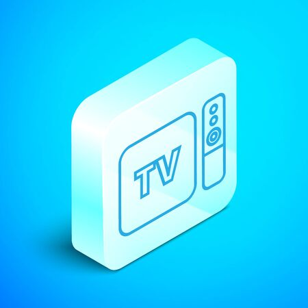 Isometric line Multimedia and TV box receiver and player with remote controller icon isolated on blue background. Silver square button. Vector Illustration