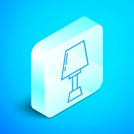 Isometric line Table lamp icon isolated on blue background. Silver square button. Vector Illustration Stock Vector - 133852418