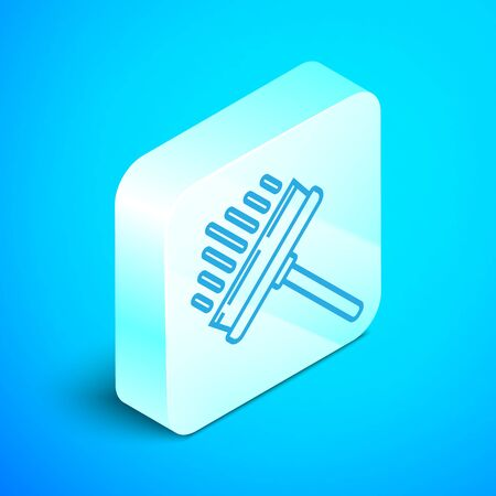 Isometric line Cleaning service with of rubber cleaner for windows icon isolated on blue background. Squeegee, scraper, wiper. Silver square button. Vector Illustration Standard-Bild - 133852441