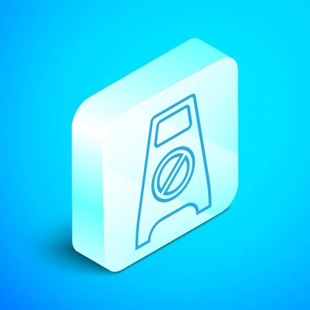 Isometric line Wet floor and cleaning in progress icon isolated on blue background. Cleaning service concept. Silver square button. Vector Illustration