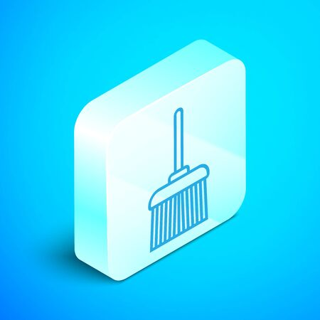 Isometric line Handle broom icon isolated on blue background. Cleaning service concept. Silver square button. Vector Illustration Standard-Bild - 133852448