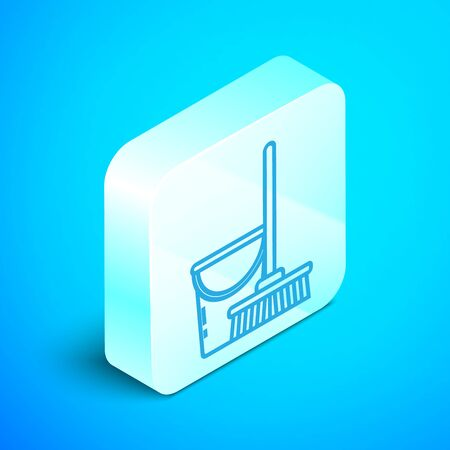 Isometric line Mop and bucket icon isolated on blue background. Cleaning service concept. Silver square button. Vector Illustration Standard-Bild - 133852450