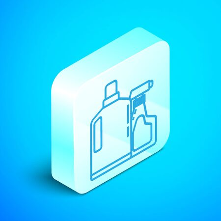 Isometric line Plastic bottles for liquid laundry detergent, bleach, dishwashing liquid or another cleaning agent icon isolated on blue background. Silver square button. Vector Illustration
