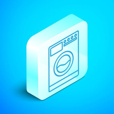 Isometric line Washer icon isolated on blue background. Washing machine icon. Clothes washer - laundry machine. Home appliance symbol. Silver square button. Vector Illustration Stockfoto - 133852453