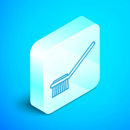 Isometric line Toilet brush icon isolated on blue background. Silver square button. Vector Illustration Иллюстрация