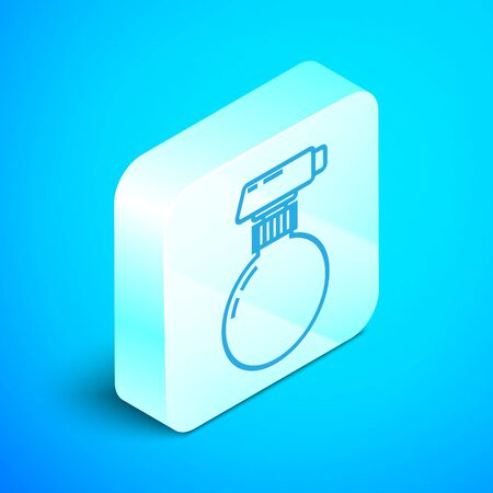 Isometric line Cleaning spray bottle with detergent liquid icon isolated on blue background. Silver square button. Vector Illustration
