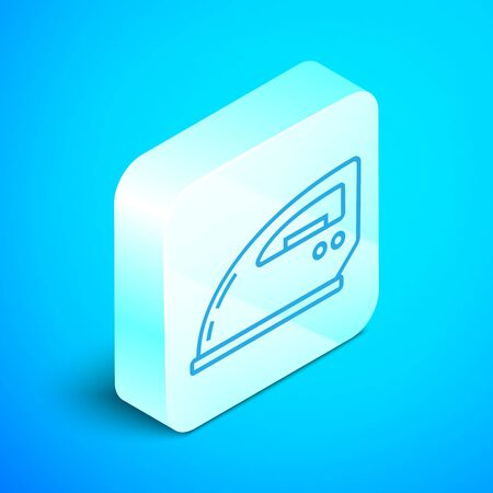 Isometric line Electric iron icon isolated on blue background. Steam iron. Silver square button. Vector Illustration