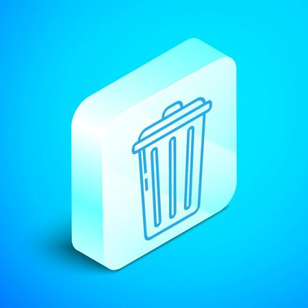 Isometric line Trash can icon isolated on blue background. Garbage bin sign. Recycle basket icon. Office trash icon. Silver square button. Vector Illustration Stock Vector - 133852471
