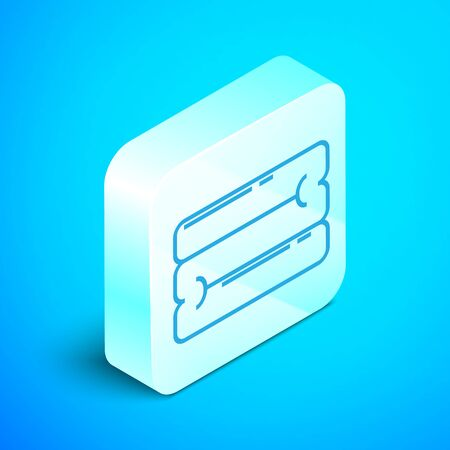 Isometric line Towel stack icon isolated on blue background. Silver square button. Vector Illustration